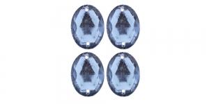 WF15A 18x13mm Helesinine, tahuline ovaalne akrüülkristall, 4tk