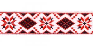 Rahvusliku mustriga kaunistuspael 25mm, Art.25944, värv puna-valge