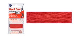 100% Silk Beading Thread, #5; ø0,65 mm, 2 m, color: red, Beadalon JH05S-REDXX-C