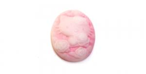 AR5 18x25mm Heleroosa, valge Hello Kitty pildiga kamee
