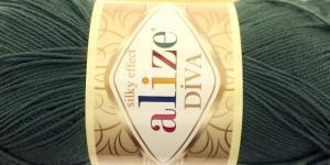 Siidja pinnaga akrüüllõng Diva Silk Effect; Värv 131 (Tumeroheline), Alize