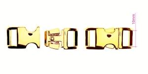Metallipistolukko, nauhalukko 15 mm x 33 mm, sopii hihnaan leydella 10 mm, pinnoite: kultainen, PA562