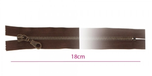 1882OX, Closed end Metal Zippers, zip fasteners, 18cm, color: dark brown, member width: 6mm antique brass