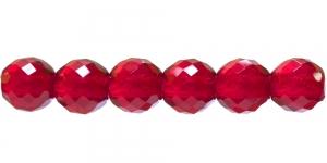 Ümar tahuline klaaspärl, Tšehhi, 14mm, Punane läbipaistev, LO130