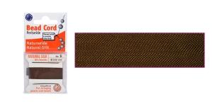 100% Silk Beading Thread, #5; ø0,65 mm, 2 m, color: brown, Beadalon JH05S-BROWN-C