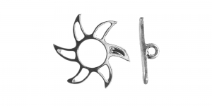 T-kinnis Hõbedane niklivaba / Silver Toggle Clasp with Sun Design ni-free / 20mm / EJ3