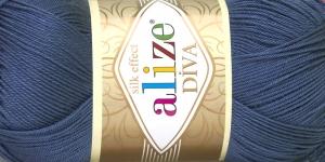 Siidja pinnaga akrüüllõng Diva Silk Effect; Värv 353 (Tumedam hallikassinine), Alize