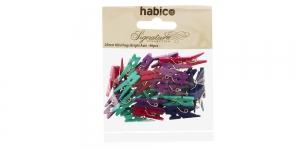Värvilised väiksed pesupulgad 25 mm x 7 mm, 40 tk, Habico PP1051_BRIGHT, IL13A