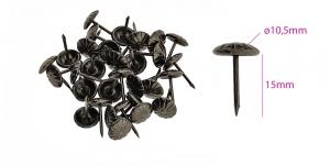 Polstrinaelad, dekoratiivnaelad, kübara ø10,5 mm, pinnakate: antiikteras, 25 tk, PB6 KL0313