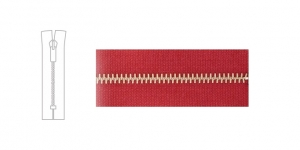 3488NI, Metal Zipper, zip fastener, 17cm-18cm, raspberry red, member width: 4mm, nickel plated