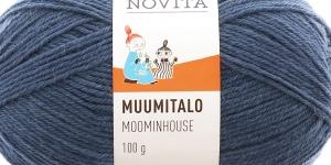 Villasisaldusega sokilõng Muumitalo, Novita, värv 176, Urri hallikassinine