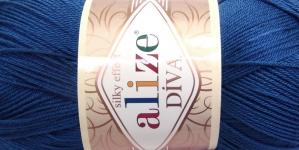 Siidja pinnaga akrüüllõng Diva Silk Effect; Värv 279 (Tumesinine), Alize