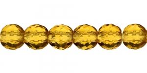 Ümar tahuline klaaspärl, Tšehhi, 14mm, Tumekollane läbipaistev, LP45