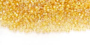 HC4 Tšehhi Preciosa terahelmed, Nr.9 (2,4-2.8mm) Läbipaistvad, kuldkollased AB-kattega terahelmed