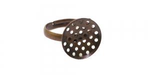 Antique Copper Perforated Round Finger Ring Base ni-free / 16mm / EA84