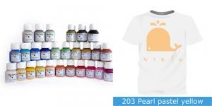 Pärlmuttervärv kanga värvimiseks, Fabric Paint Pearl, 50 ml, Vielo, Värv: mahe kollane, #203 Pearl pastel yellow