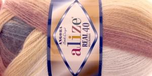 Mohäärlõng Alize Angora Real 40 Batik Design, värv 4726 beežikad hallikad toonid