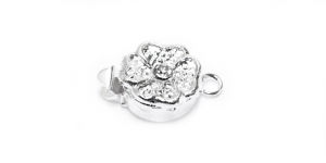 Silver Box Clasp with Flower Shape and Gem / 15 x 10 x 7mm / EJ42