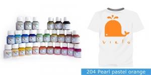 Pärlmuttervärv kanga värvimiseks, Fabric Paint Pearl, 50 ml, Vielo, Värv: pastelne oranž, #204 Pearl pastel orange