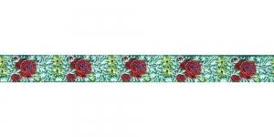 Lillekimpudega dekoratiivpael, laiusega 15 mm, värv 3B VERDE, Art. 22109