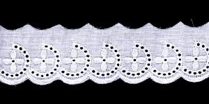 Broderiipits õite ja poolringidega laius 50mm Nr.7 Valge
