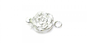 Silver Round Box Clasp with Rose Pattern / 14 x 10mm / EJ83