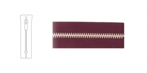 3912NI, Metal Zipper, zip fastener, 17cm-18cm, wine red, member width: 4mm, nickel plated