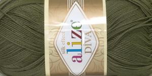Siidja pinnaga akrüüllõng Diva Silk Effect; Värv 273 (Samblaroheline), Alize