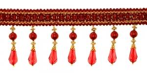 Pärlitega narmaspael / TK-618 / Värv nr. PE-71/46, punane kuldsega
