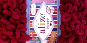 Pehme aasadega lõng Puffy Fine firmalt Alize, värv 107, bordoopunane