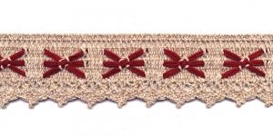 Puuvillane pits 1203-MC laiusega 5 cm, värv linabeež punasega