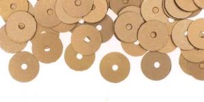 YB128 / Lamedad kettakujulised plastlitrid, siidja läikega pronksjad / ø8mm
