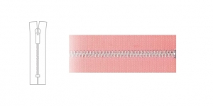 1324NI, Metal Zipper, zip fastener, 17cm-18cm, dusty rose pink, member width: 4mm, nickel plated