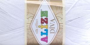 Siidja pinnaga akrüüllõng Diva Silk Effect; Värv 55 (Valge), Alize