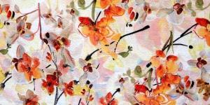 Loodusvalgel taustal, oranžikirjud orhideed, kostüümikangas, 136cm, 094-271-7484