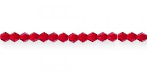 LO116 4mm Punane läbipaistev topeltkoonusekujuline klaashelmes