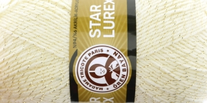 Metallikniidiga akrüüllõng Star Lurex, Madame Tricote, värv nr. 5A, kreemjasvalge kuldse metallikniidiga