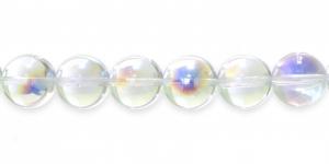 LO176 Ümar klaaspärl, Tšehhi, 12mm, Värvitu läbipaistev AB- kattega