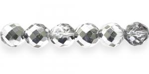Ümar tahuline klaaspärl, Tšehhi, 14mm, Värvitu 1/2 hõbedase kattega pool läbipaistev, LH3