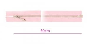 1323NI, Alt avatav 4mm hammastikuga metall-tõmblukk pikkusega 50cm, roosa, nikeldatud hammastikuga