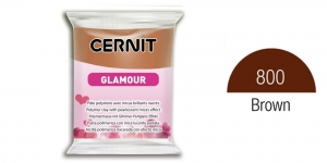 Polymer clay, CERNIT GLAMOUR, Pearlescent and metallic colours, 56g, Brown 800