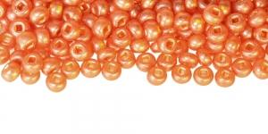 Terahelmed, seemnehelmed, Nr.5 (4,3-4.8mm), Preciosa Pruunikasoranžid piimjad, poolmatid hõbedase, läikiva auguga HI114