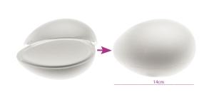 2-poolne avatav, seest tühi penoplastist e. stüroksist muna 10 x 14 cm, KL1740
