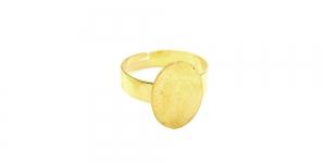 Sõrmusetoorik ovaalse plaadiga Kuldne niklivaba / Golden Round Finger Ring Base ni-free / 16mm / EA67