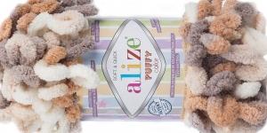 Pehme aasadega lõng Puffy Soft & Quick firmalt Alize, värv 5926, beežide toonide kirju