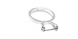 Sõrmusetoorik pärlikohaga hõbedane niklivaba / 16mm / EA99