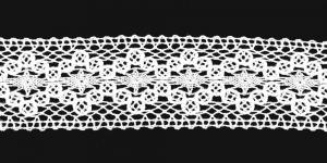 Puuvillane pits 1425-01 laiusega 5,5 cm, värv valge