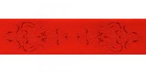 Luksuslik atlaspael sissekootud lillemustriga laiusega 38mm, Art.38969, punane