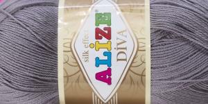 Siidja pinnaga akrüüllõng Diva Silk Effect; Värv 348 (Tumehall), Alize