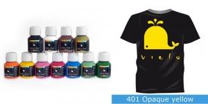 Kattev värv kanga värvimiseks pintsli, tampooni jms abil, Fabric Paint Opaque, 50 ml, Vielo, Värv: kollane, #401 Opaque yellow